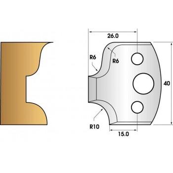 Paire de fers de toupie hauteur 40 n° 45 - congé rayon 10mm et doucine
