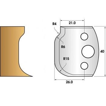 Coltelli e limitatori de 40 mm n° 47 - raggio di 15 mm e cove