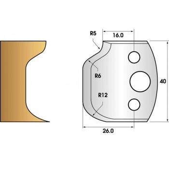 Paire de fers de toupie hauteur 40 n° 48 - rayon 12mm et doucine