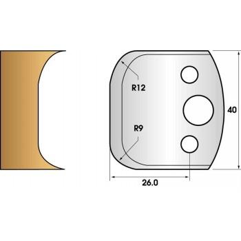Paire de fers de toupie hauteur 40 n° 50 - rayon 9 et 12 mm