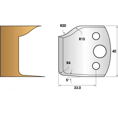 Paire de fers de toupie hauteur 40 n° 100 - double plate-bande