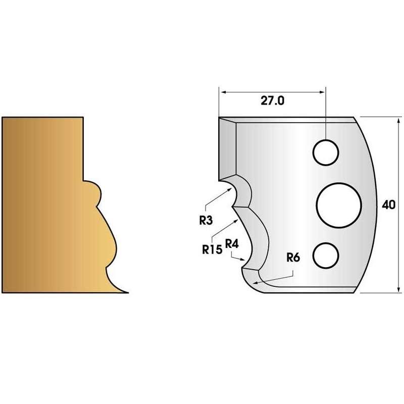Paire de fers de toupie hauteur 40 n° 101 - moulure régence