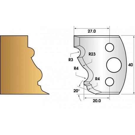 Paire de fers de toupie hauteur 40 n° 103 - moulure régence