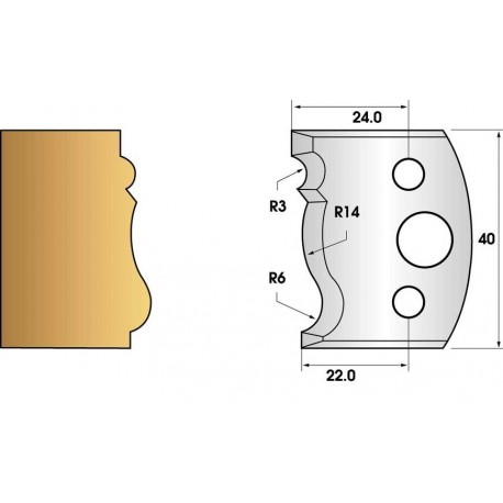 Jeu de 2 fers profiles hauteur  40X4 mm n° 106