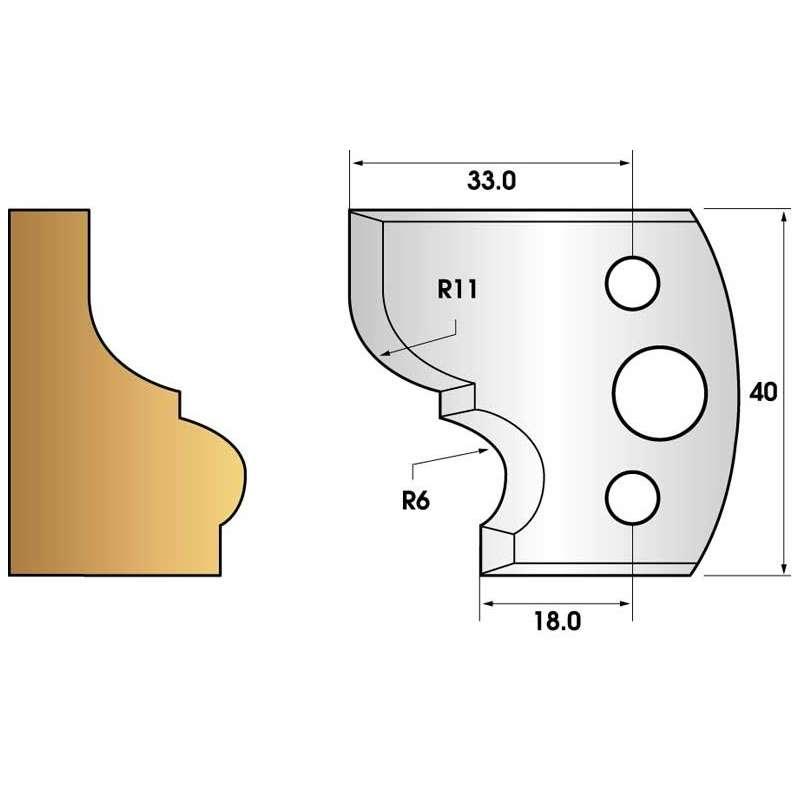 Paire de fers de toupie hauteur 40 n° 111 - moulure corniche