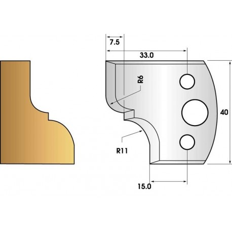 Profile knives and limiters 40 mm n° 112 - molding cornice