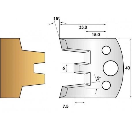 Paire de fers de toupie hauteur 40 n° 113 - enture mâle