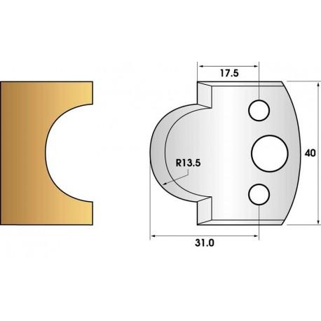 Paire de fers de toupie hauteur 40 n° 118 - gueule de loup rayon 13.5