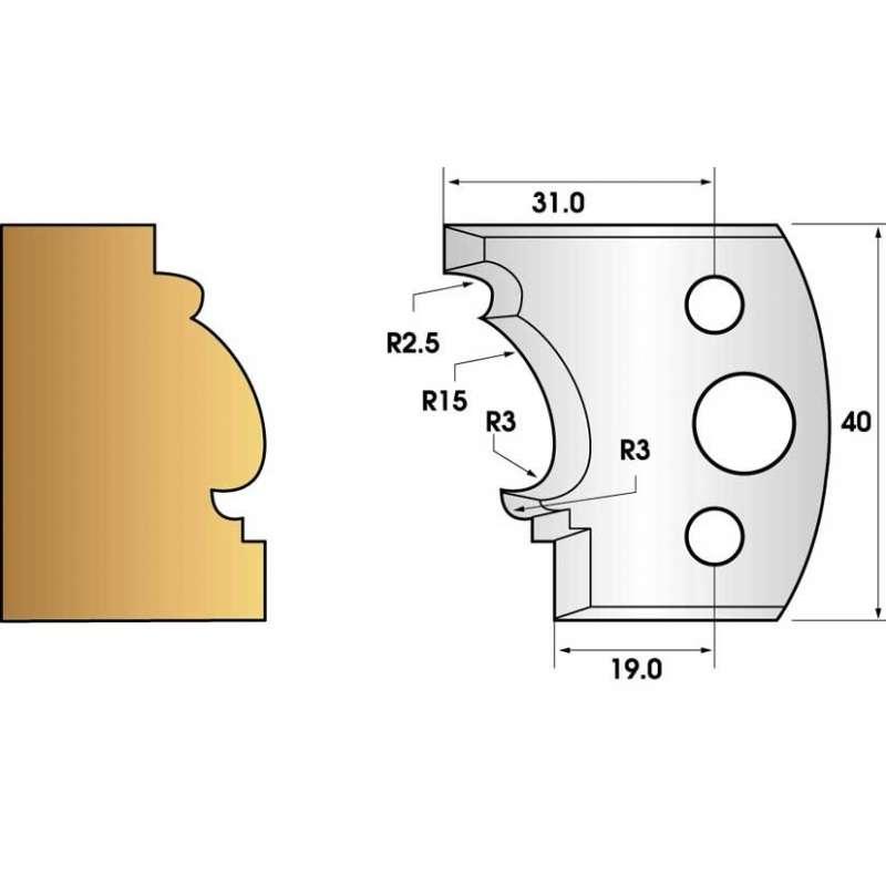 Paire de fers de toupie hauteur 40 n° 121 - moulure Louis XV