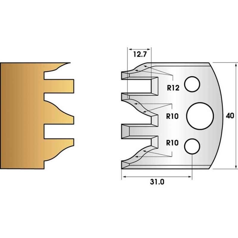 Jeu de 2 fers profiles hauteur  40X4 mm n° 124