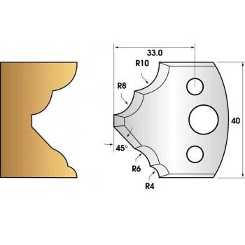 Paire de fers de toupie hauteur 40 n° 126 - quart de rond multiple