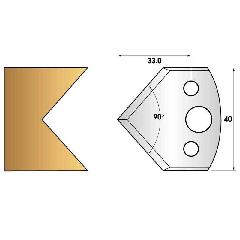 jeu de fers 40mm entr/'axe 24mm n° 127 chanfrein 45°