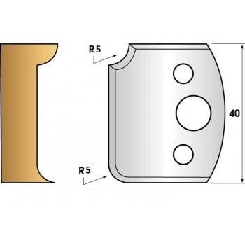 Paire de fers de toupie hauteur 40 n° 172 - 1/4 de rond 5 mm
