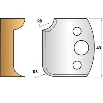Paire de fers de toupie hauteur 40 n° 174 - 1/4 de rond 8 mm