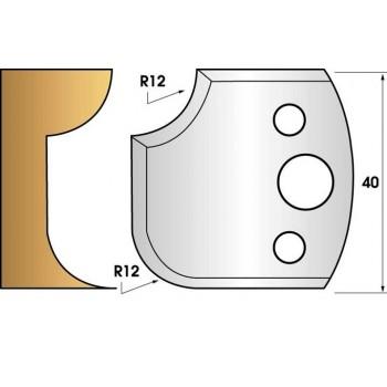 Paire de fers de toupie hauteur 40 n° 176 - 1/4 de rond 12 mm