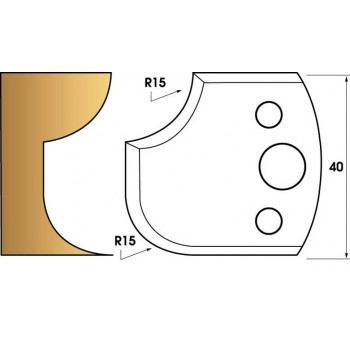 Coltelli e limitatori de 40 mm n° 177 - 1/4 di tondo 15 mm