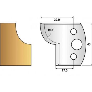 Paire de fers de toupie hauteur 40 n° 57 - conge rayon 15mm