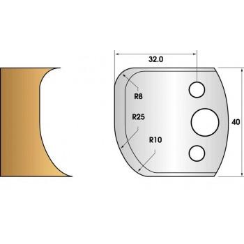 Paire de fers de toupie hauteur 40 n° 62 - courbe 3 rayons