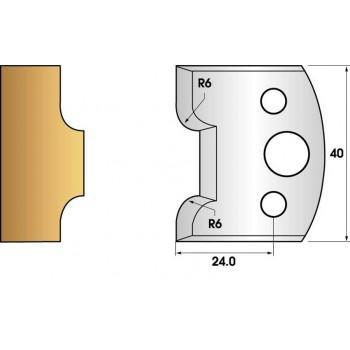 Paire de fers de toupie hauteur 40 n° 63 - congés rayon 6mm