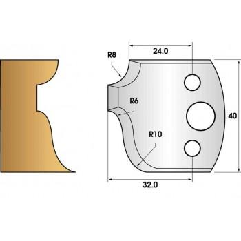 Paire de fers de toupie hauteur 40 n° 64 - moulure