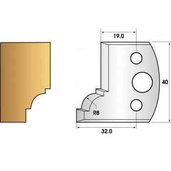 Paire de fers de toupie hauteur 40 n° 67 - quart de rond rayon 8mm