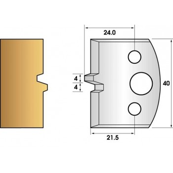 Coltelli e limitatori de 40 mm n° 74 - bouvetage trapezio semplice