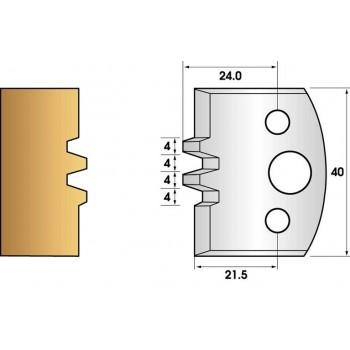 Paire de fers de toupie hauteur 40 n° 75 - bouvetage trapézoidal double