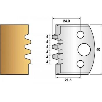 Paire de fers de toupie hauteur 40 n° 76 - bouvetage trapézoidal triple