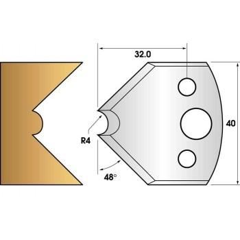 Paire de fers de toupie hauteur 40 n° 80 - mouchette rayon 4mm