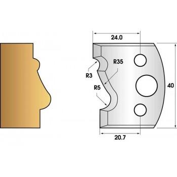Paire de fers de toupie hauteur 40 n° 81 - moulure Louis XV