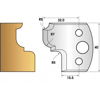 Paire de fers de toupie hauteur 40 n° 82 - quart de rond rayon 5mm, congé rayon 7mm