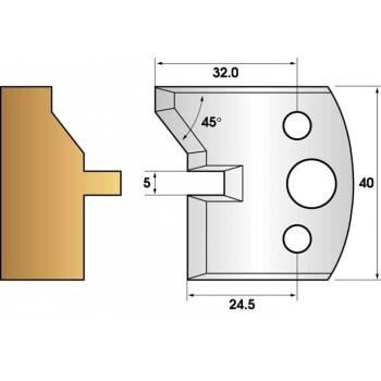 Paire de fers de toupie hauteur 40 n° 83 - languette chanfrein 45°