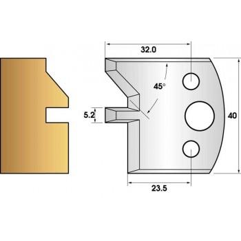 Paire de fers de toupie hauteur 40 n° 84 - rainure chanfrein 45°