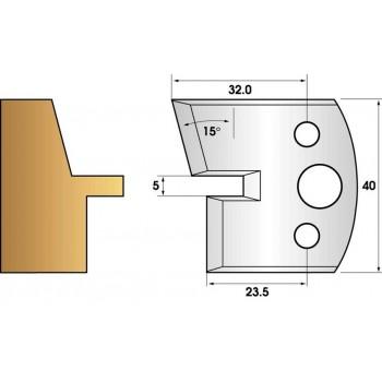 Paire de fers de toupie hauteur 40 n° 85 - languette chanfrein 15°