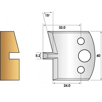 Coltelli e limitatori de 40 mm n° 86 - groove smusso 15°
