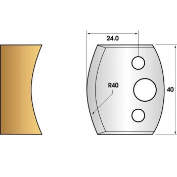Paire de fers de toupie hauteur 40 n° 87 - congé rayon 40mm