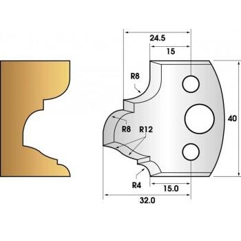 Paire de fers de toupie hauteur 40 n° 89 - moulure