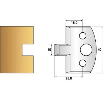 Paire de fers de toupie hauteur 40 n° 91 - rainure 10mm