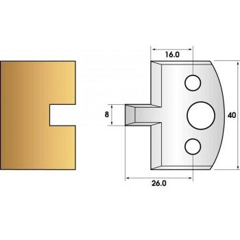 Paire de fers de toupie hauteur 40 n° 94 - rainure 8mm