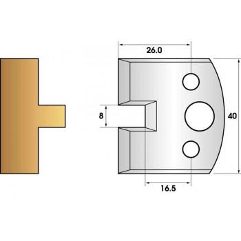 Paire de fers de toupie hauteur 40 n° 95 - languette 8mm