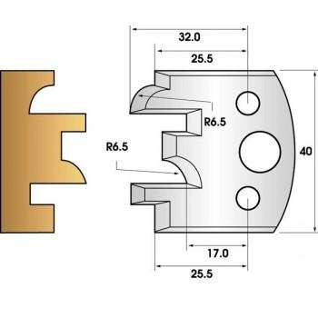 Paire de fers de toupie hauteur 40 n° 96 - profil/contre-profil