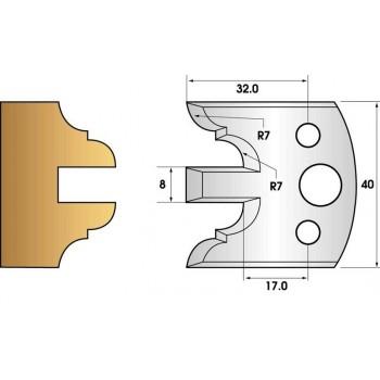 Paire de fers de toupie hauteur 40 n° 98 - profil 40mm