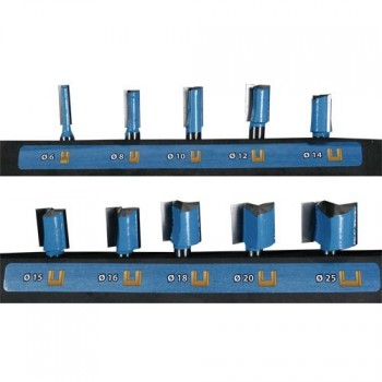 10 pieces straight router bit sets - Shank 8 mm