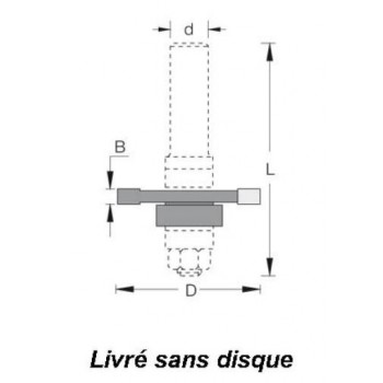Arbre porte-disques pour rainure languette avec roulement et bagues Q6mm