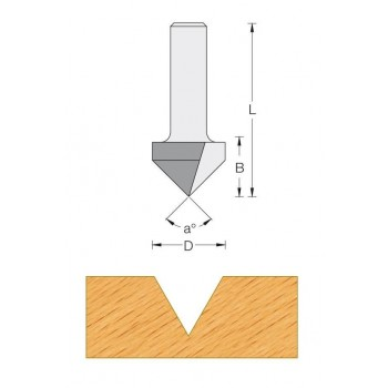Fraise a rainurer V A 90°  Q6 mm - Ø 12.7 x LU 12.7