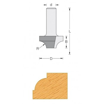 Fraise 1/4 rond avec 2 plats sans guide Q6 MM-DIA 31.7 - rayon 9.5