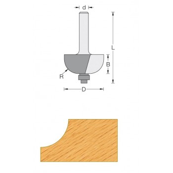 Cove router bit radius 8 mm - Shank 6 mm