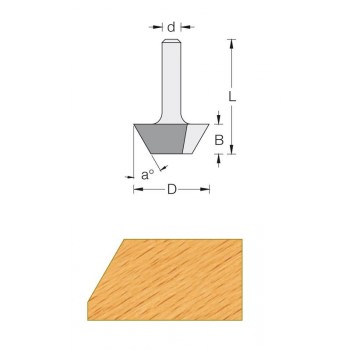45° Chamfer router bit - Shank 8 mm