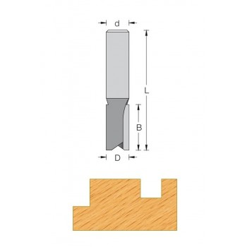 Fresa de corte recto para canales Ø 12 mm serie corta - Cola 8 mm