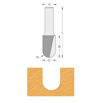 Fraise pour profil gouge Q8 MM - DIA 6 X LU 12.7 - rayon de 3